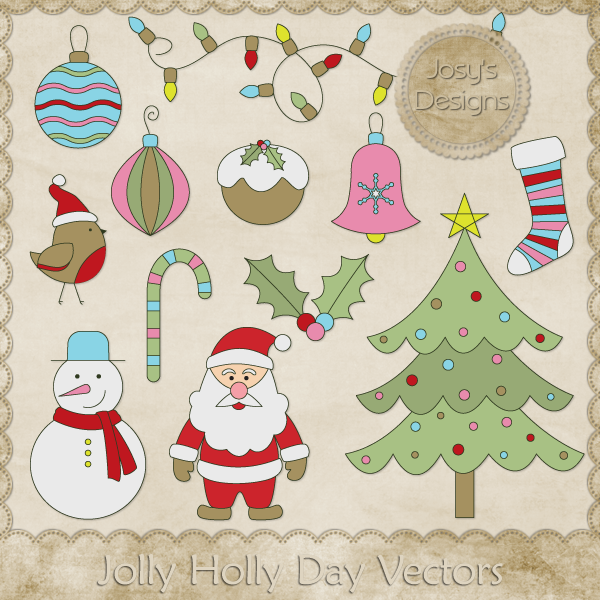 Jolly Holly Day Layered Vector Templates by Josy