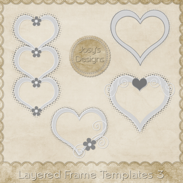 Layered Heart Frame Templates 3 by Josy