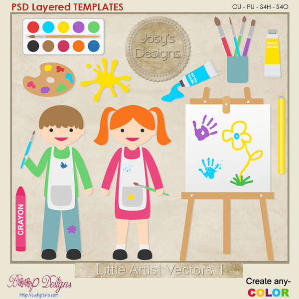 Little Artist Layered Vector Templates by Josy