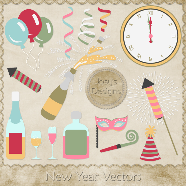 New Year Layered Vector Templates by Josy