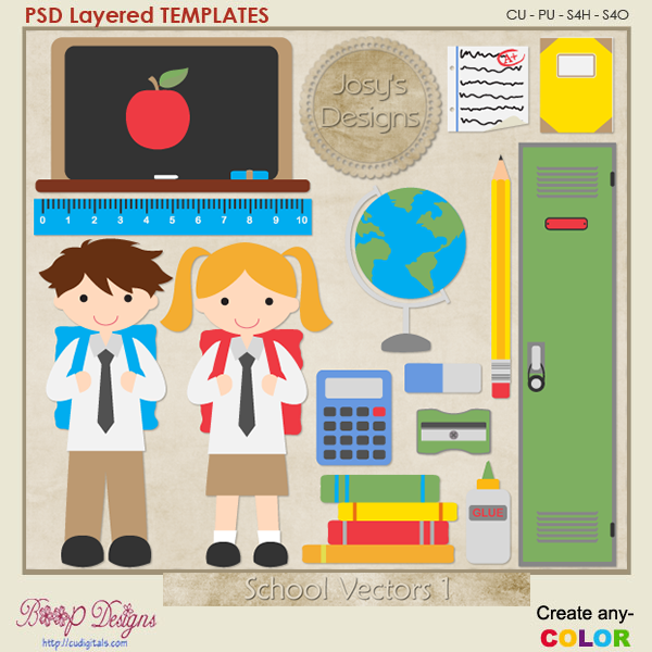 School Layered Vector Templates 1 by Josy