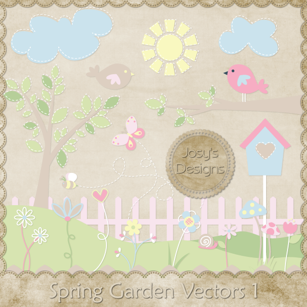 Spring Garden Layered Vector Templates by Josy