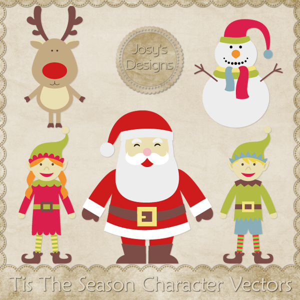 Tis The Season Character Layered Vector Templates by Josy