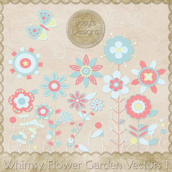 Whimsy Flower Garden Layered Vector Templates by Josy