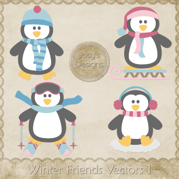 Winter Friends Layered Vector Templates by Josy