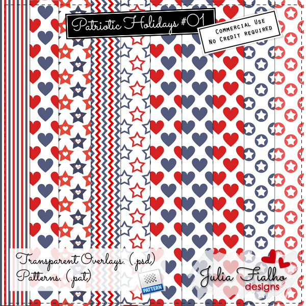 Patterns - Patriotic Holidays 01 by Julia Fialho