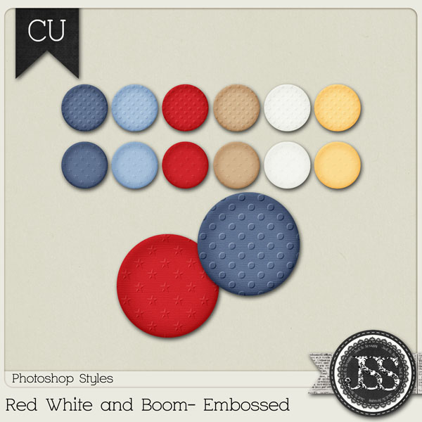 Red White and Boom Embossed PS Styles by Just So Scrappy
