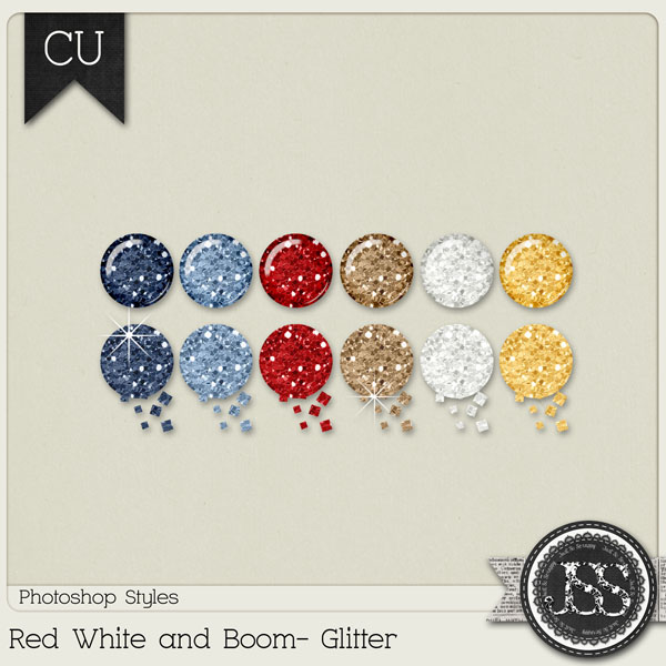 Red White and Boom Glitter PS Styles by Just So Scrappy