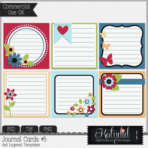 Journal or Pocket Scrapbooking Cards Layered Templates Pack No 5