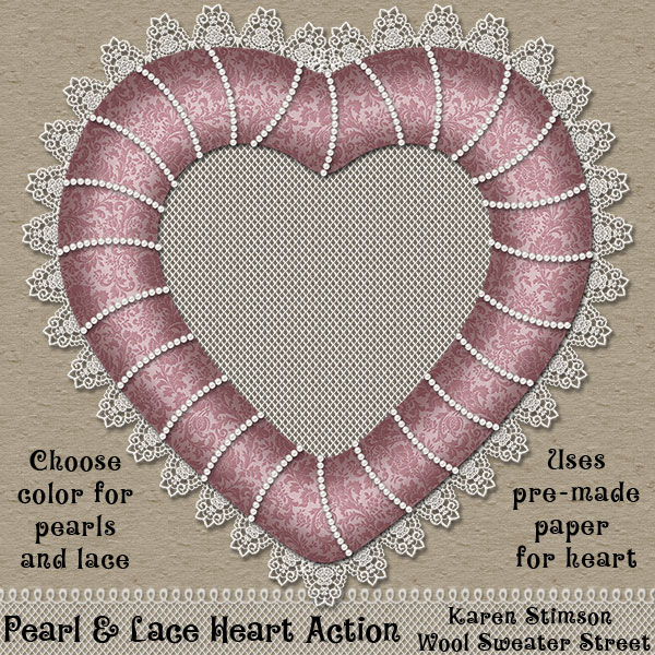 Pearl & Lace Heart Action by Karen Stimson