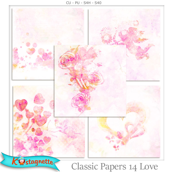 Classic Papers 14 Love by Kastagnette