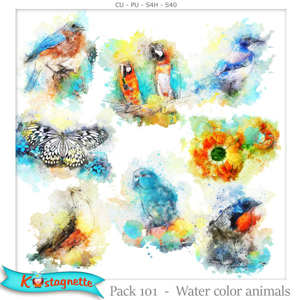 Pack 101 water color animals by kastagnette