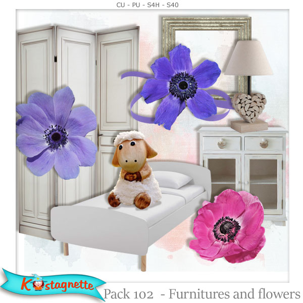 Pack 102 furnitures and flowers by Kastagnette