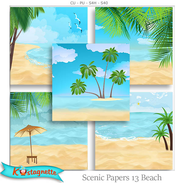 Scenic Papers 13 Beach by Kastagnette