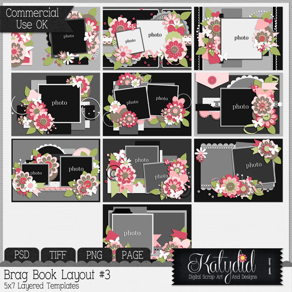 Brag Book Layered Templates Pack No 3