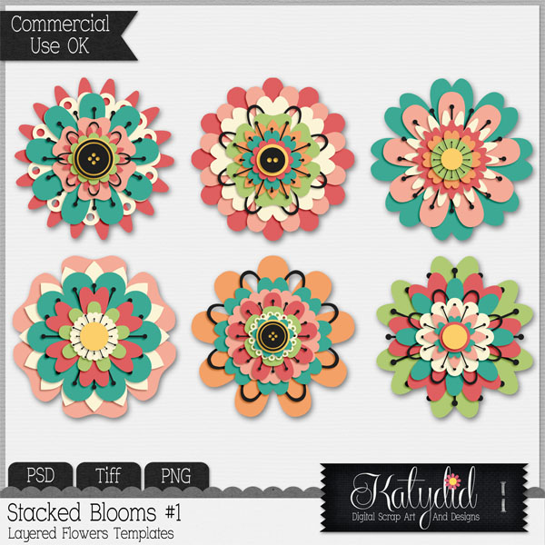 Flower Bloom Layered Templates Pack No 1