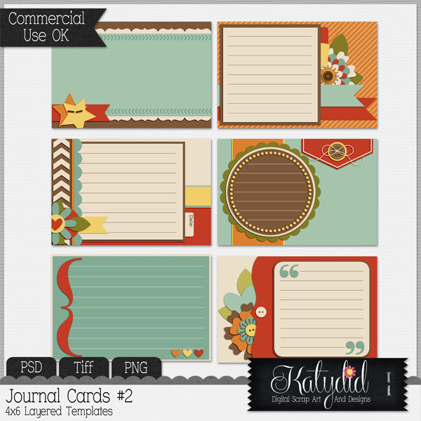 Journal or Pocket Scrapbooking Cards Layered Templates Pack No 2