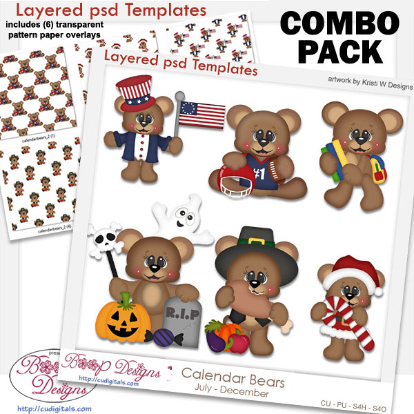 Calendar Bears Holiday 2 Layered Template & Pattern Overlay COMBO