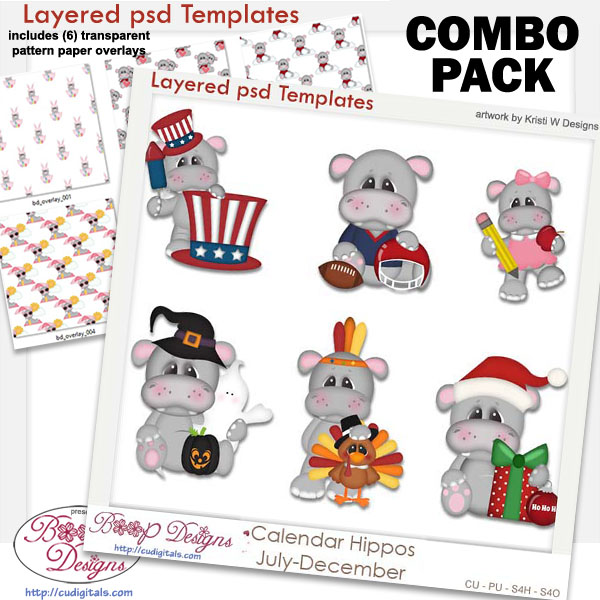 Calendar Hippos Holiday 2 Layered Template & Pattern Overlay COMBO