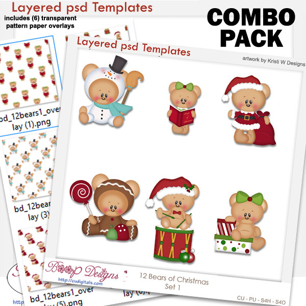 12 Bears of Christmas Set 1 Layered Template COMBO Set