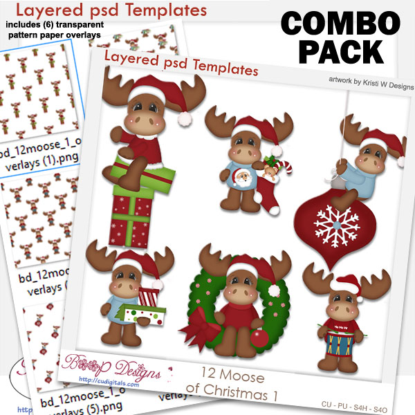 12 Moose of Christmas 1 Layered Template COMBO Set