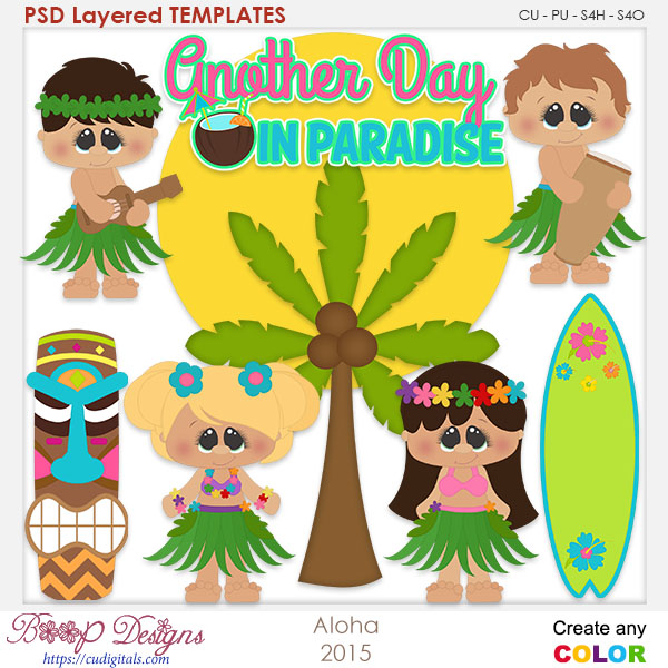 Aloha in Paradise Layered Element Templates