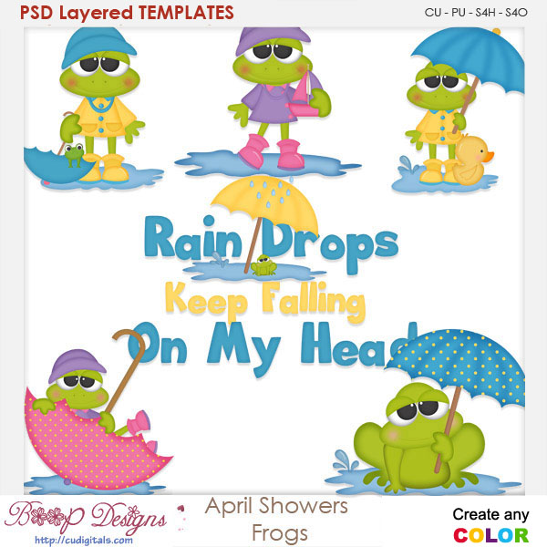 April Spring Rain Shower Frogs Layered Element Templates