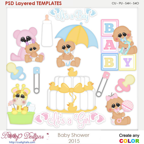 Baby Shower Layered Element Templates