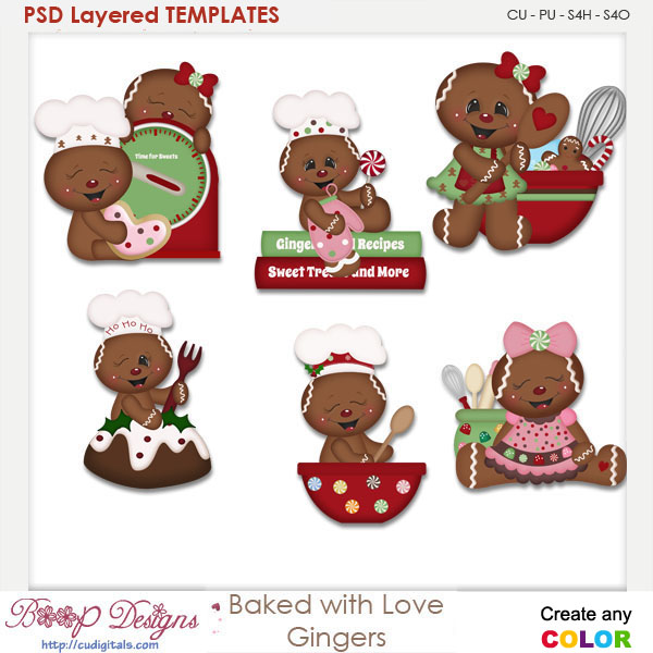 Baked With Love Gingers Layered Element Templates
