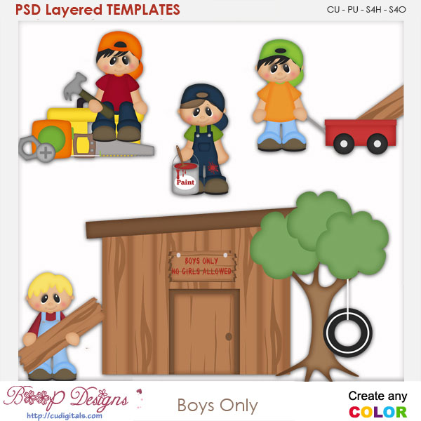 Boys Only Layered Element Templates