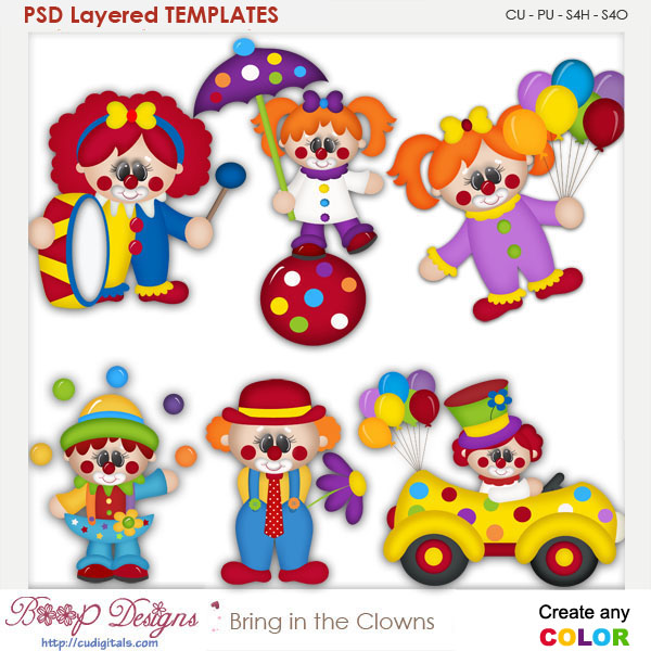 Bring in the Clowns Layered Element Templates