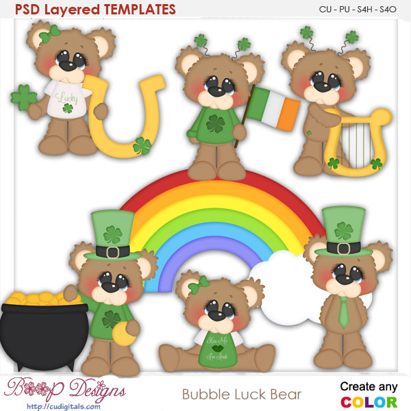 Bubbles Irish Lucky Bear Layered TEMPLATES