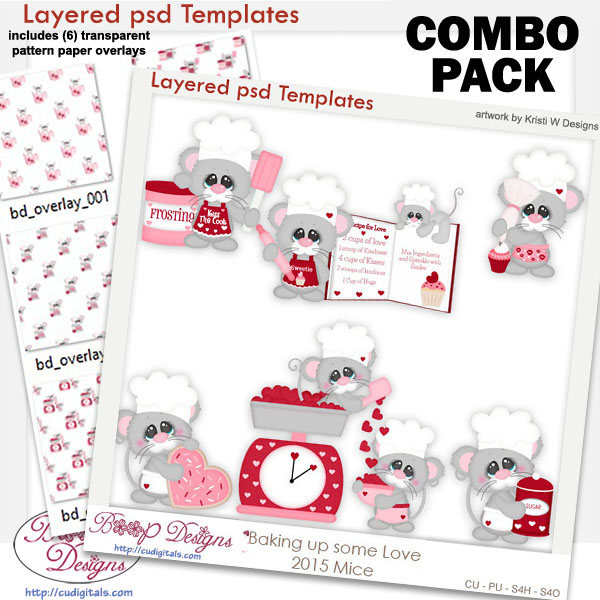 Baking Up Some Love Mice Layered Template COMBO Set