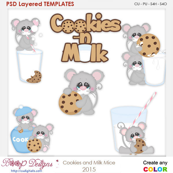 Cookies & Milk Mice Layered Element Templates