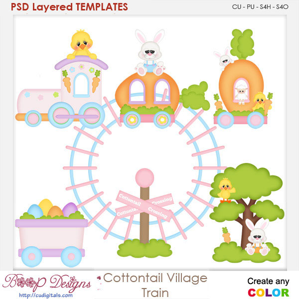 Cottontail Village-Train Layered Element Templates