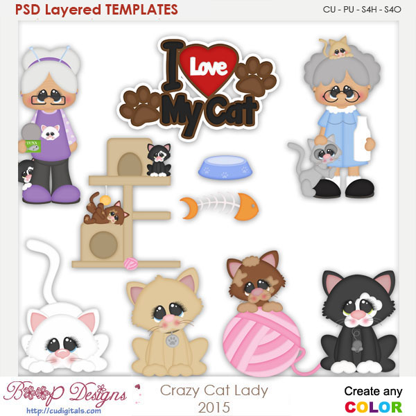 Crazy Kitty Cat Lady Layered Element Templates