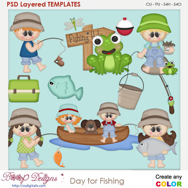 Day For Fishing Layered Element Templates