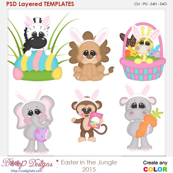 Easter in the Jungle Layered Element Templates