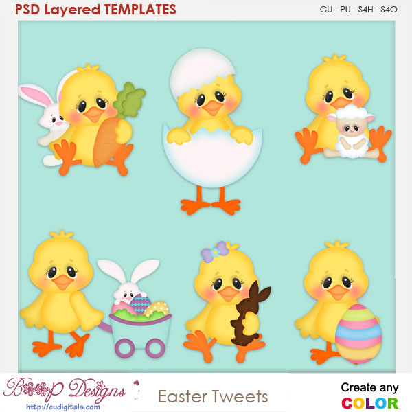 Easter Tweets Layered Element Templates