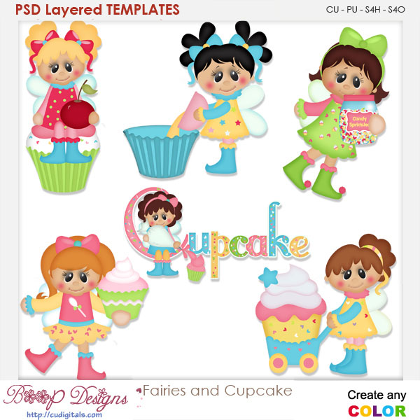 Fairies & Cupcakes Layered Element Templates