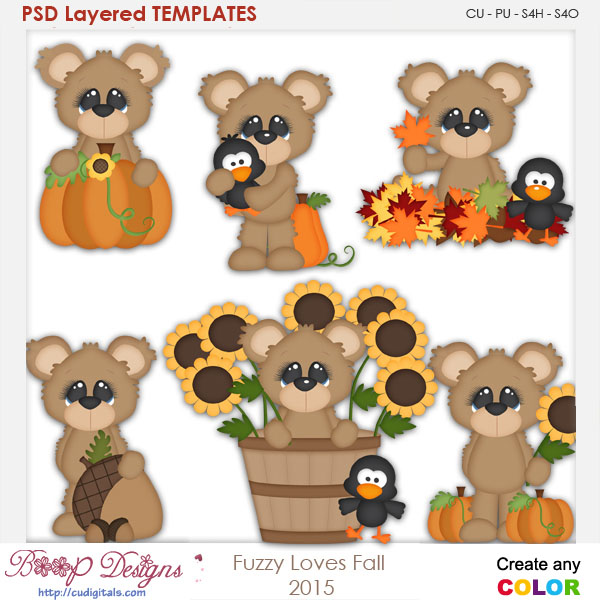 Fuzzy Bear Loves Fall Element Templates