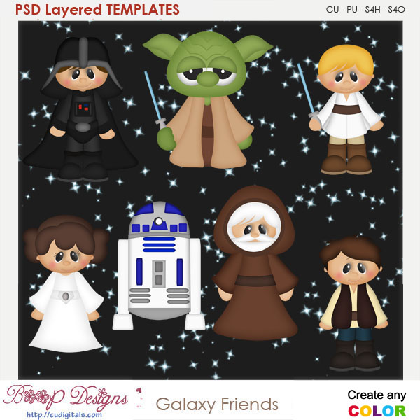 Star Galaxy Friends Layered Element Templates