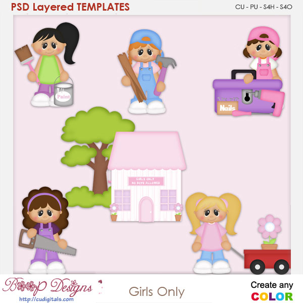 Girls Only Construction Layered Element Templates