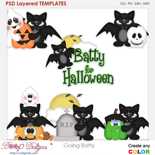 Going Batty for Halloween Layered Element Templates