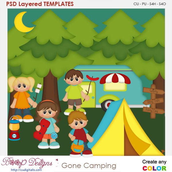 Gone Camping Layered Element Templates