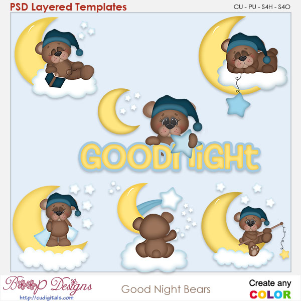 Goodnight Moon Bears Layered Element Templates