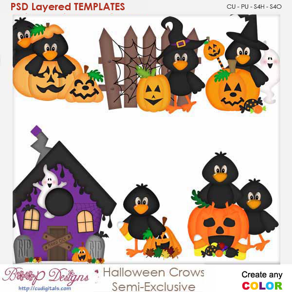 Halloween Crows Element Templates