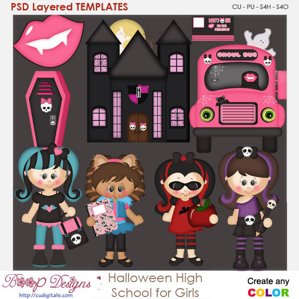 Halloween High School For Girls Element Templates