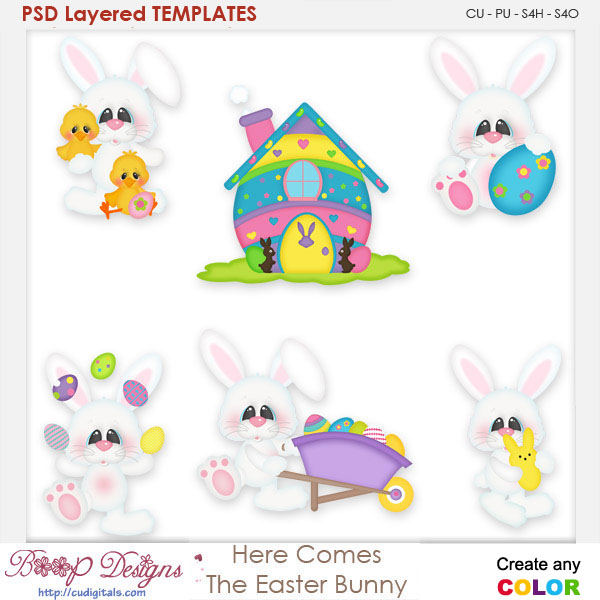 Here Comes The Easter Bunny Layered Element Templates