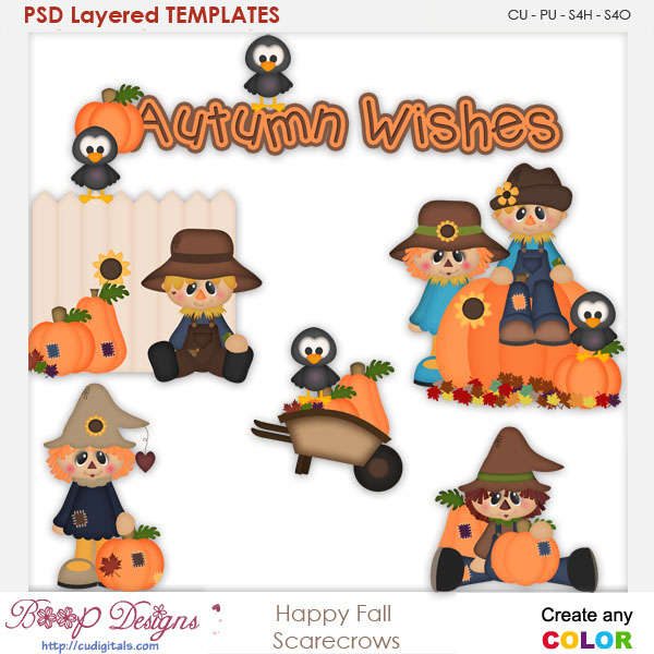 Happy Fall Autumn Scrarecrow 1 Layered Element Templates